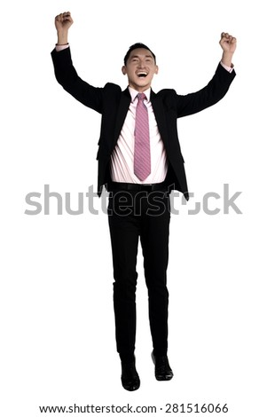 Asian business man raise hand isolated over white background - stock photo