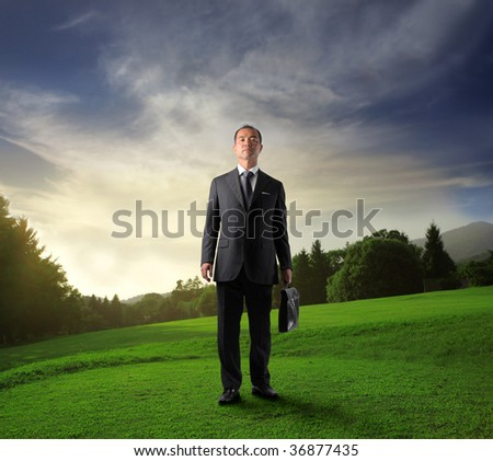asian business man standing in a beautiful natural landscape - stock photo