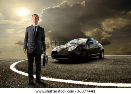 asian business man standing near to sport car - stock photo