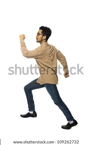 Asian business man taking invisible stair isolated over white background. You can put your own stair - stock photo