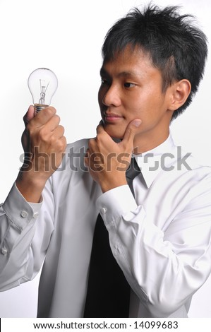 asian business man thinking for an idea