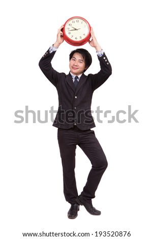 Asian business man with clock - stock photo