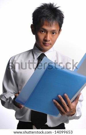 asian business man with files