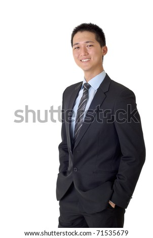 Asian business man with smiling, full length portrait isolated on white background. - stock photo