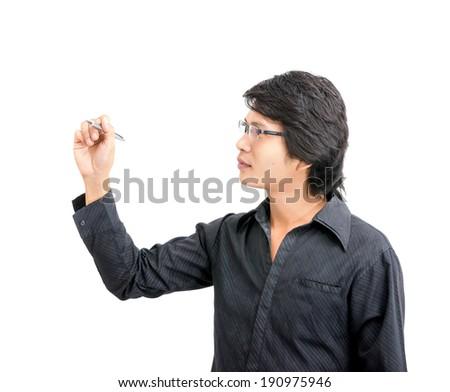 Asian business man writing something white background - stock photo