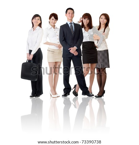 Asian business team, businesswoman and businessman in group standing and looking at you, isolated on white background. - stock photo