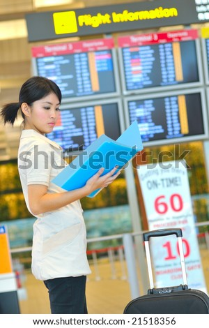 asian business woman at airport