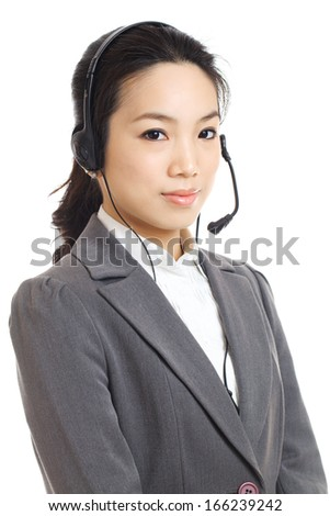 Asian business woman customer service - stock photo