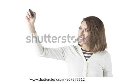 Asian Business Woman Drawing On The Transparency Board - stock photo