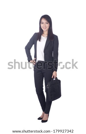 Asian business woman give you excellent gesture, close up portrait on white background.