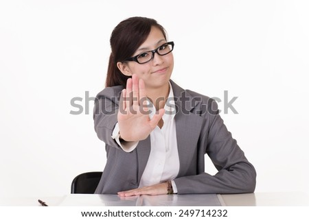 Asian business woman give you rejected sign, closeup portrait on white background. - stock photo