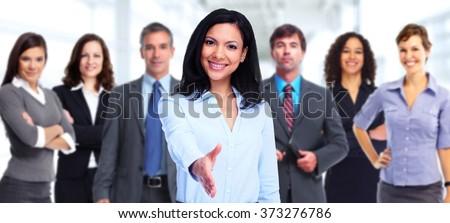 Asian business woman handshake. - stock photo