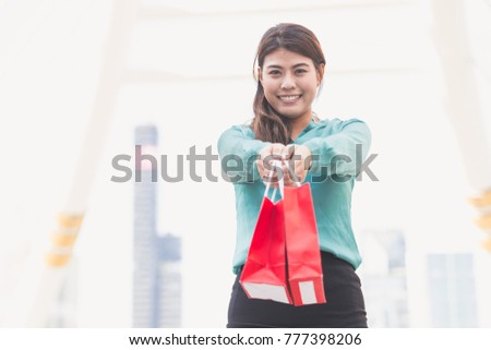 Asian business woman happy shopping in city women shopping concept