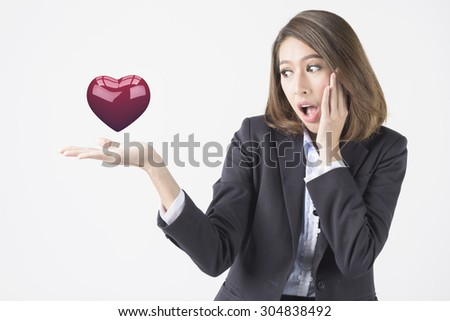 Asian Business Woman Happy With New Ideas - stock photo