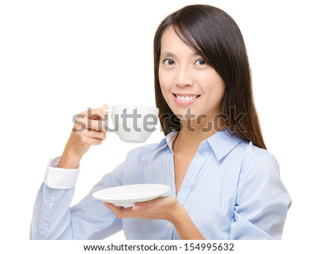 Asian business woman having drink