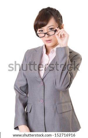 Asian business woman hold glasses, closeup portrait isolated on white background.