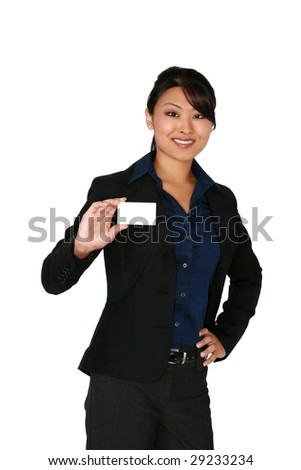Asian business woman holding blank business card - stock photo
