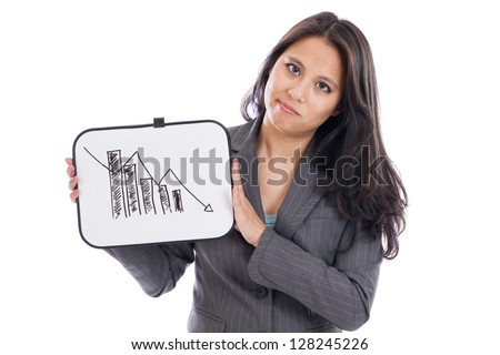 Asian business woman holding downward trending graph isolated on a white background - stock photo