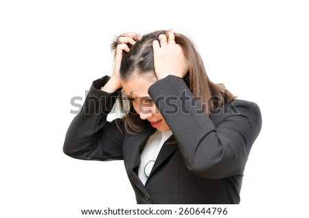 Asian business woman holding hair with stress face on white background - stock photo