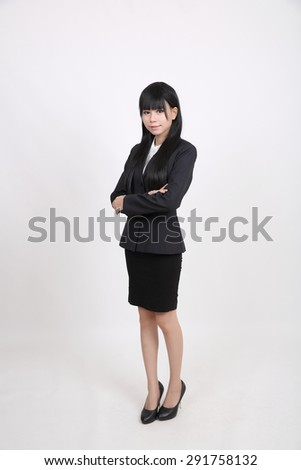 asian business woman isolated in white background - stock photo