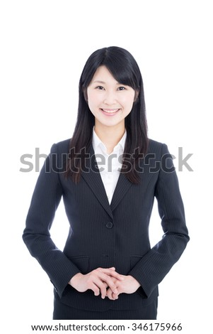 Asian business woman isolated on white background - stock photo