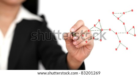 Asian business woman making money from social network concept - stock photo