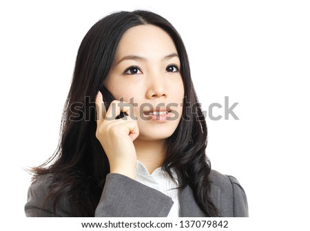 asian business woman on phone call - stock photo