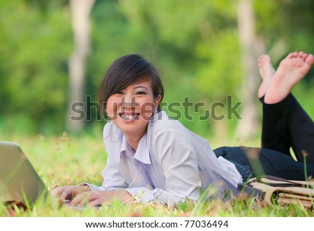 asian business woman outdoor - stock photo