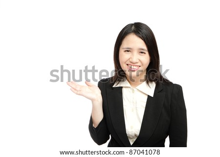 asian business woman smile introduce - stock photo