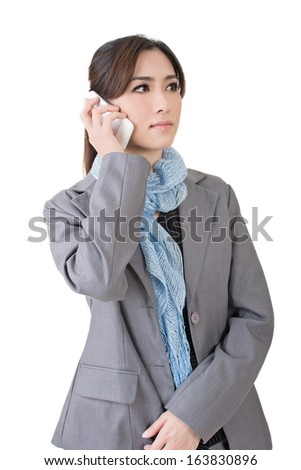 Asian business woman talk on cell phone with serious expression, close up portrait on white background.