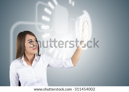 Asian Business Woman Touching Transparent Screen. Concept for Technology - stock photo