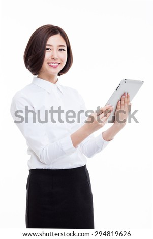 Asian Business woman using pad PC isolated on white background.  - stock photo