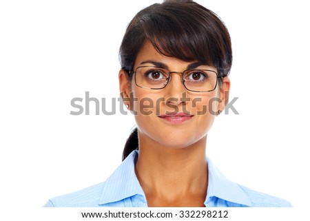 Asian business woman with eyeglasses. Eye health care. - stock photo