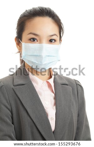 Asian business woman with face mask