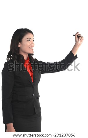 Asian business woman writing something isolated over white background