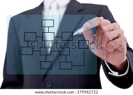Asian businessman drawing diagram on whiteboard