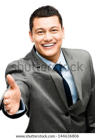 asian businessman handshake happy - stock photo