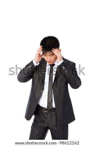 asian businessman hold hands on temples head, concept of business man stressed, headache, depressed, pain, wear elegant suit and tie isolated over white background - stock photo