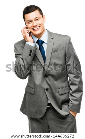 asian businessman holding phone - stock photo