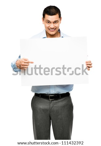 Asian businessman holding white banner billboard  isolated on clean white background - stock photo