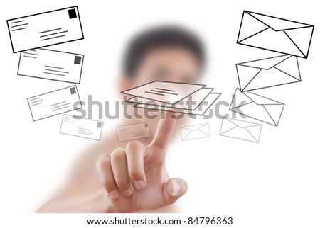 Asian businessman pushing mail for social network. - stock photo