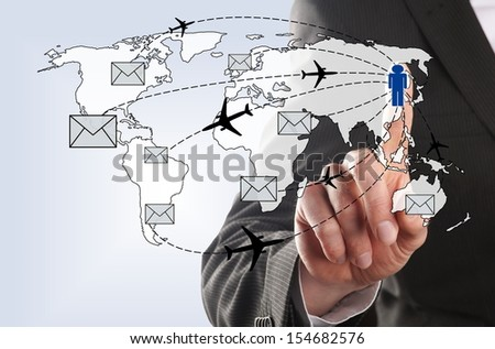 asian businessman send an envelope to his contacts around the world - stock photo