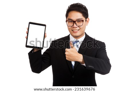 Asian businessman thumbs up with tablet pc  isolated on white background