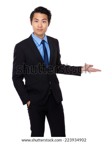 Asian businessman with hand show with blank sign