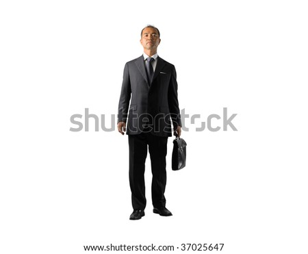 asian businessman with office bag standing isolated - stock photo