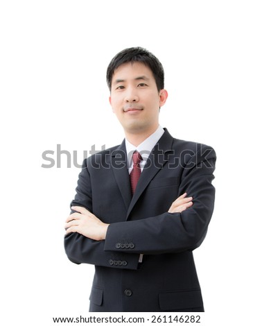 asian businessman with smiling face isolated on white - stock photo