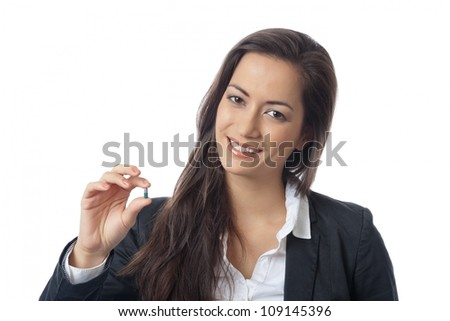 Asian Businesswoman checking medicine on white background - stock photo