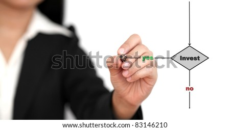 Asian businesswoman drawing a flowchart on a white board (selective focus on pen) - stock photo