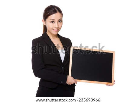 Asian Businesswoman hold with chalkboard
