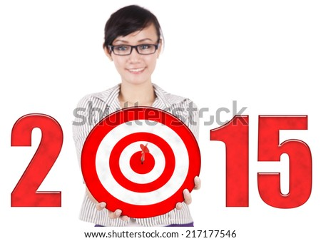 Asian businesswoman holding a dartboard with number of 2015, isolated over white - stock photo